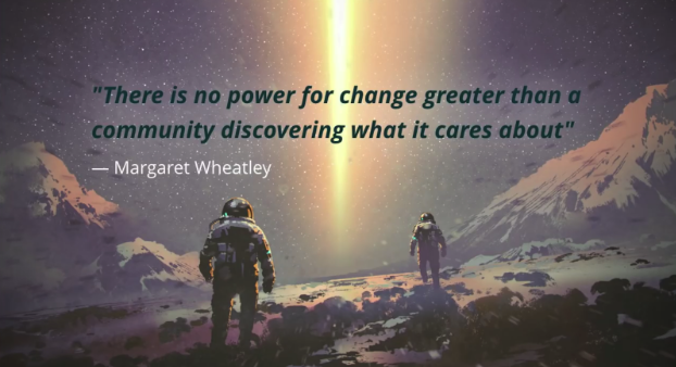 Driesnote Slide: There is no power for change greater than a community discovering what it cares about
