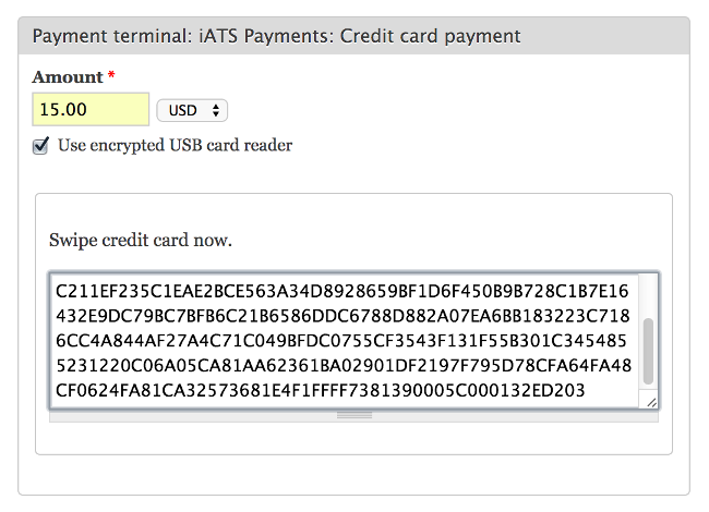 Adding a payment with an encrypted USB card reader