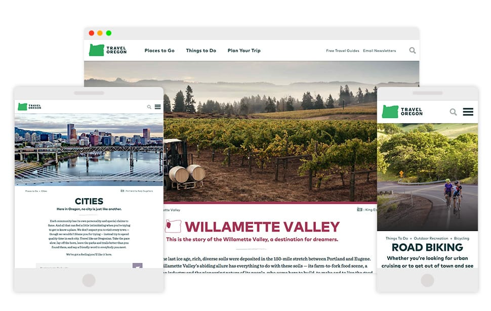 Travel Oregon responsive designs