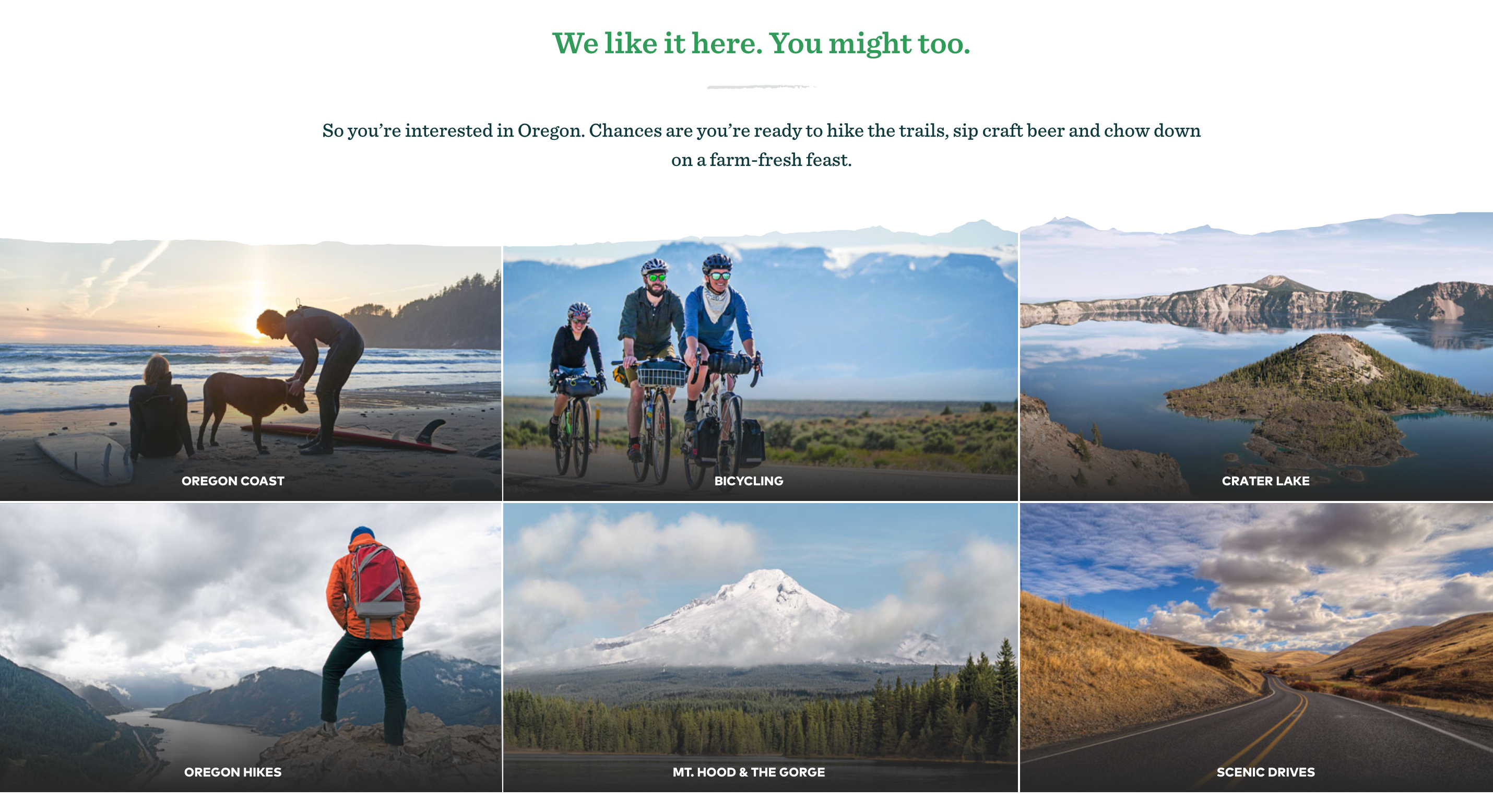 Image: Grid of Oregon locations and activities across the state