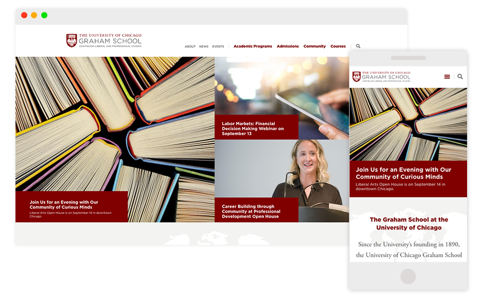 University of Chicago Graham School Home page on mobile and desktop screens
