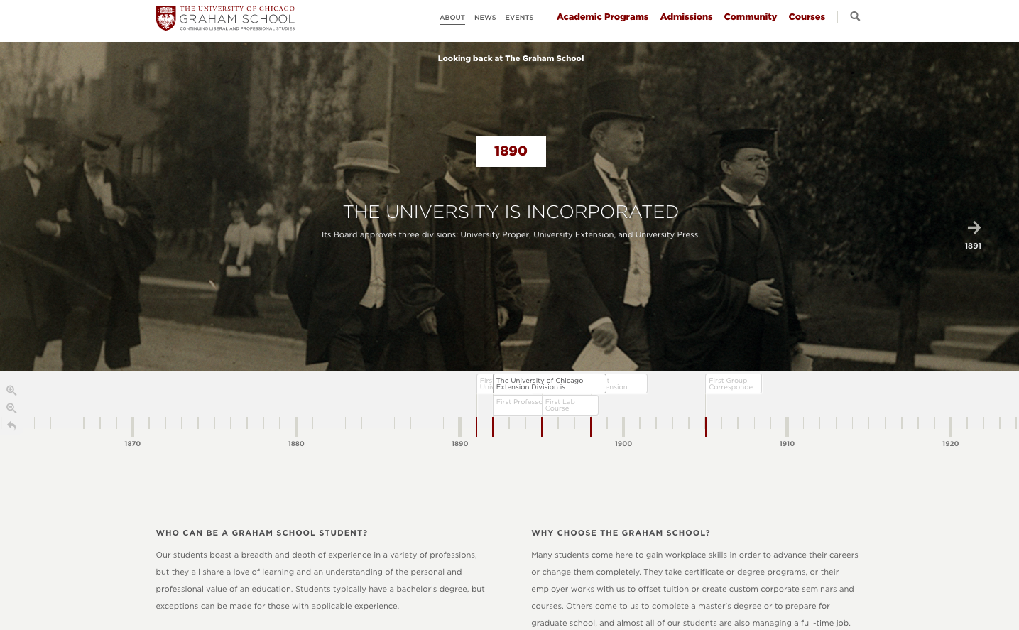 Snapshot of the University of Chicago's timeline